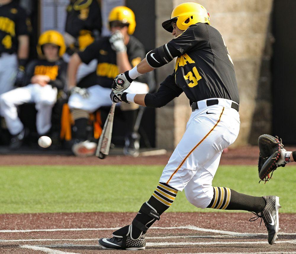 Iowa Hawkeyes third baseman Matthew Sosa (31) bats during the fourth inning of their game against Rutgers at Duane Banks Field in Iowa City on Saturday, Apr. 6, 2019. (Stephen Mally/hawkeyesports.com)