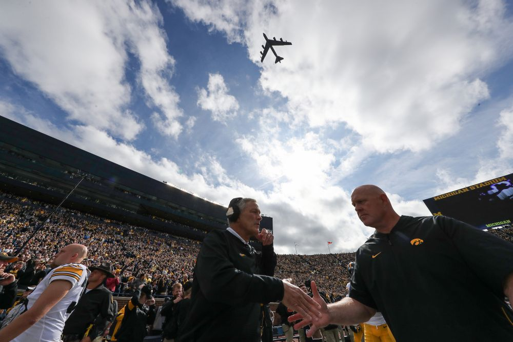 Iowa Hawkeyes head coach Kirk Ferentz and strength and conditioning coordinator Chris Doyle  against the Michigan Wolverines Saturday, October 5, 2019 at Michigan Stadium in Ann Arbor, MI. (Brian Ray/hawkeyesports.com)