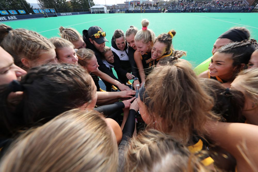 The Iowa Hawkeyes gather before their game against Penn State in the 2019 Big Ten Field Hockey Tournament Championship Game Sunday, November 10, 2019 in State College. (Brian Ray/hawkeyesports.com)